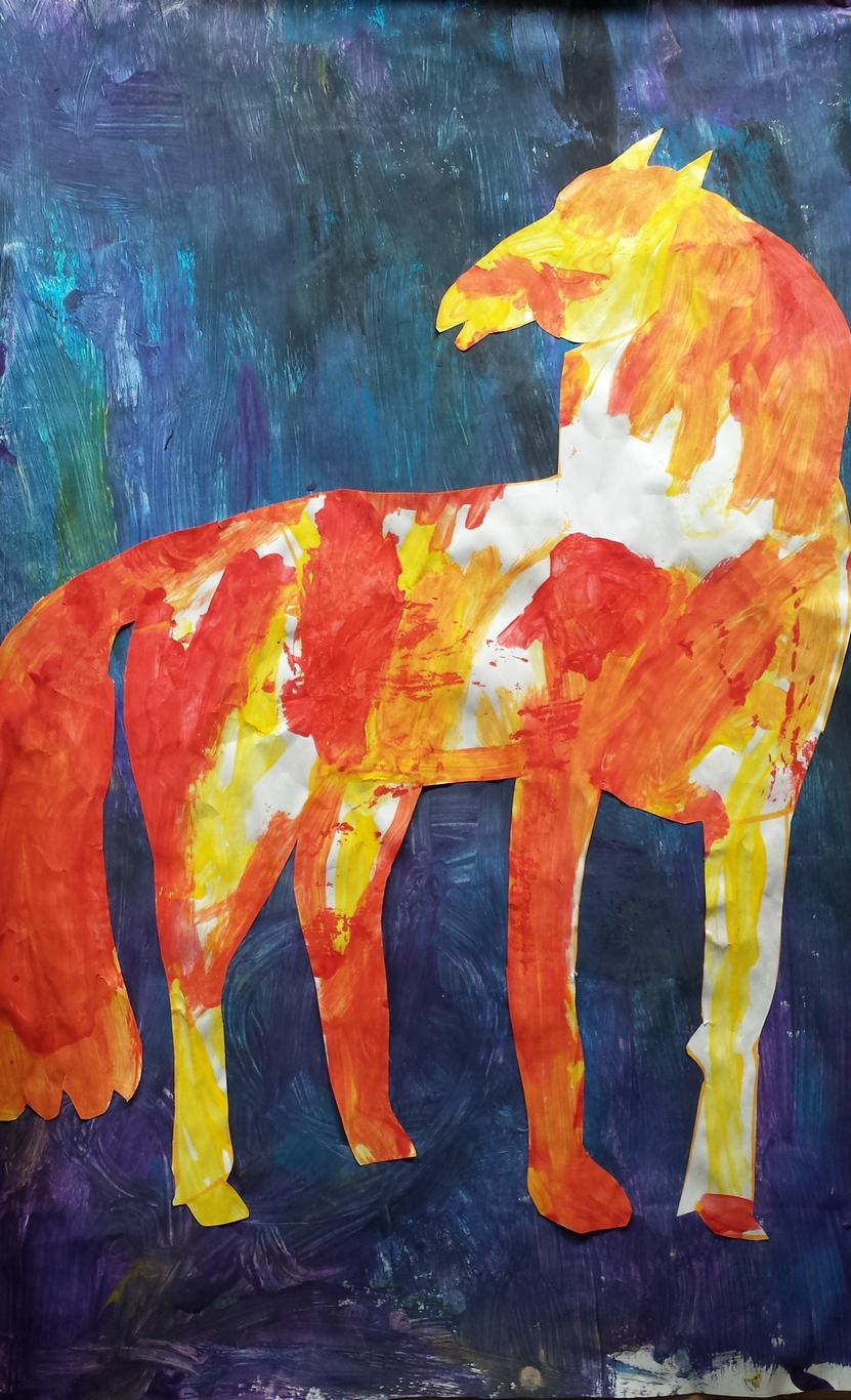 Child's drawing of the blue horse in Eric Carle's book