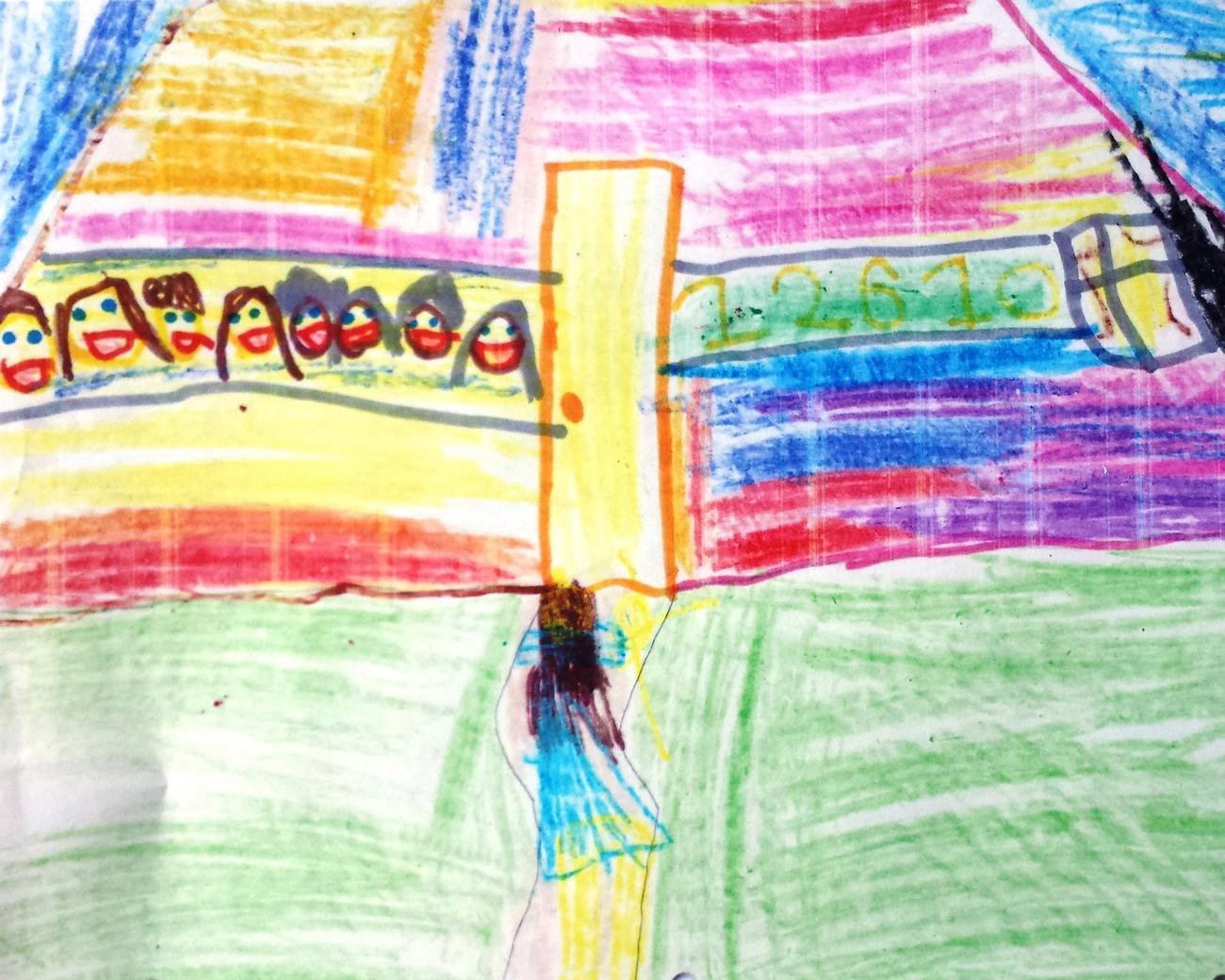 Child's drawing of butterflies and a big yellow door
