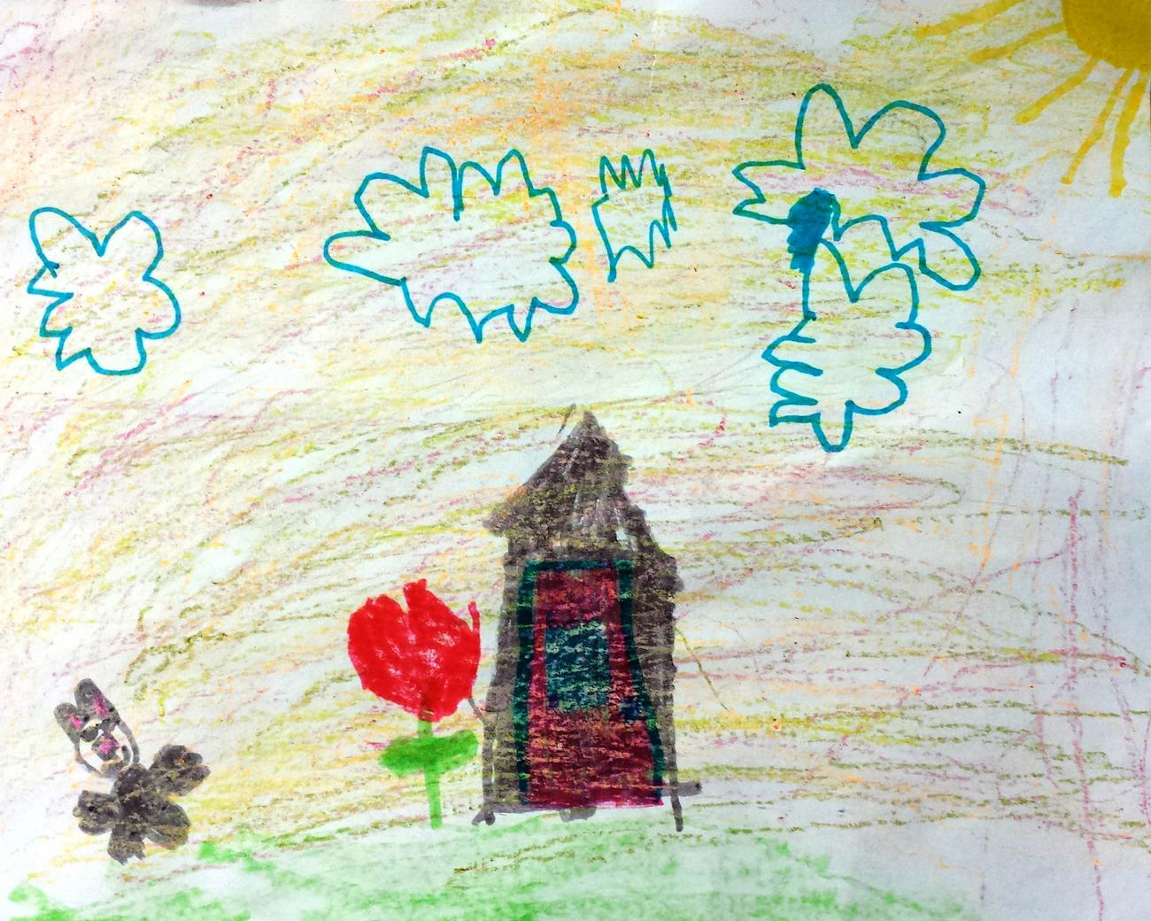 Child's drawing of a house, clouds, and sun