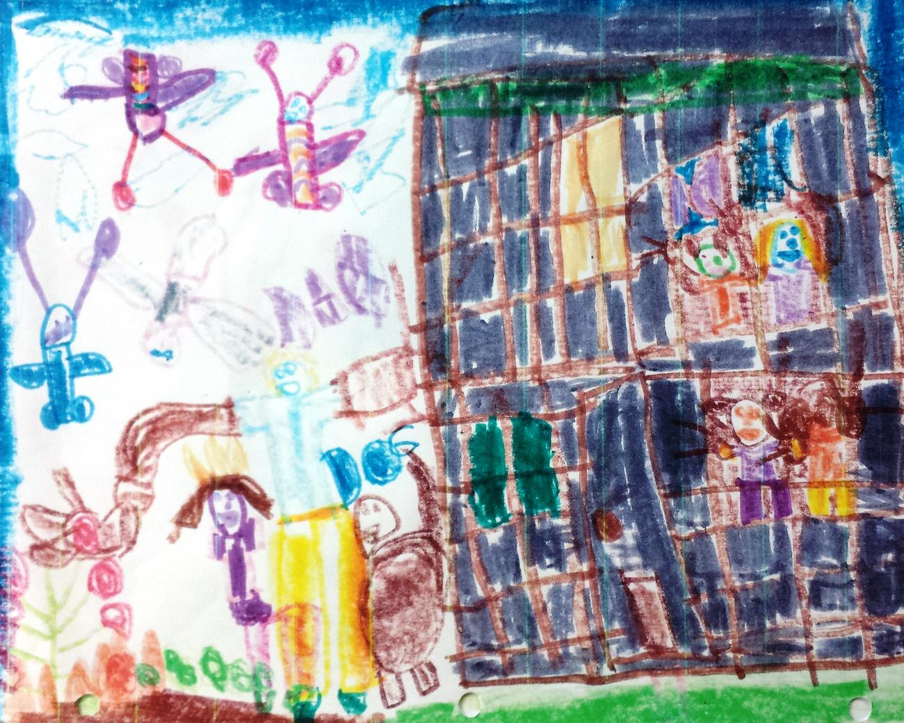 Child's drawing of people and butterflies with multiple body parts