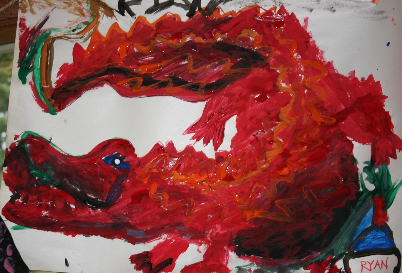 Child's red dragon project