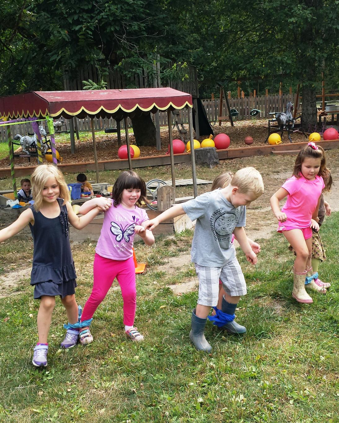 Children's foot race on the last day of summer camp