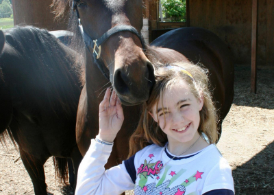 Love between a girl and her favorite horse