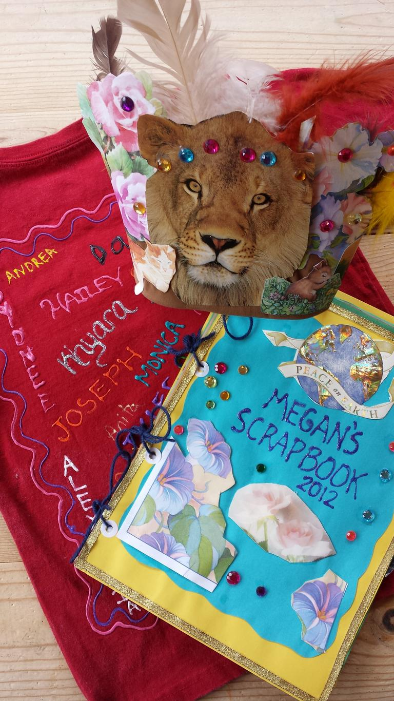 Diary, mask, and scrapbook are summer camp treasures