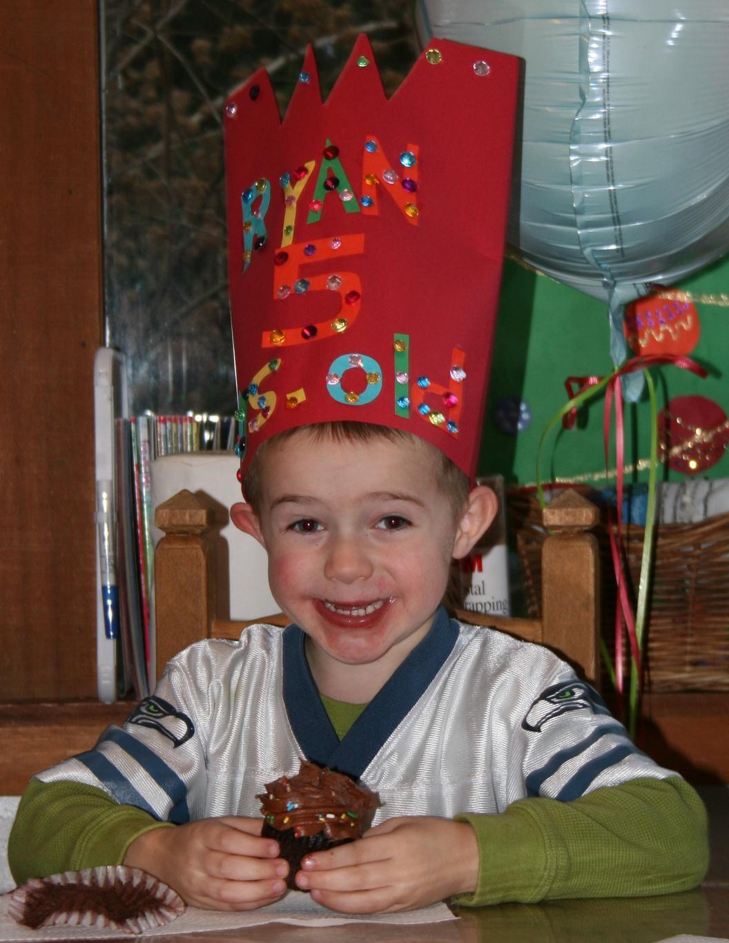 Boy celebrates his birthday