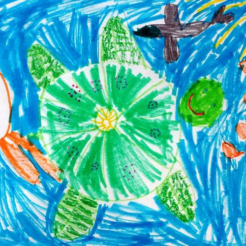 Child's drawing of a turtle from the Creative Arts and Crafts program