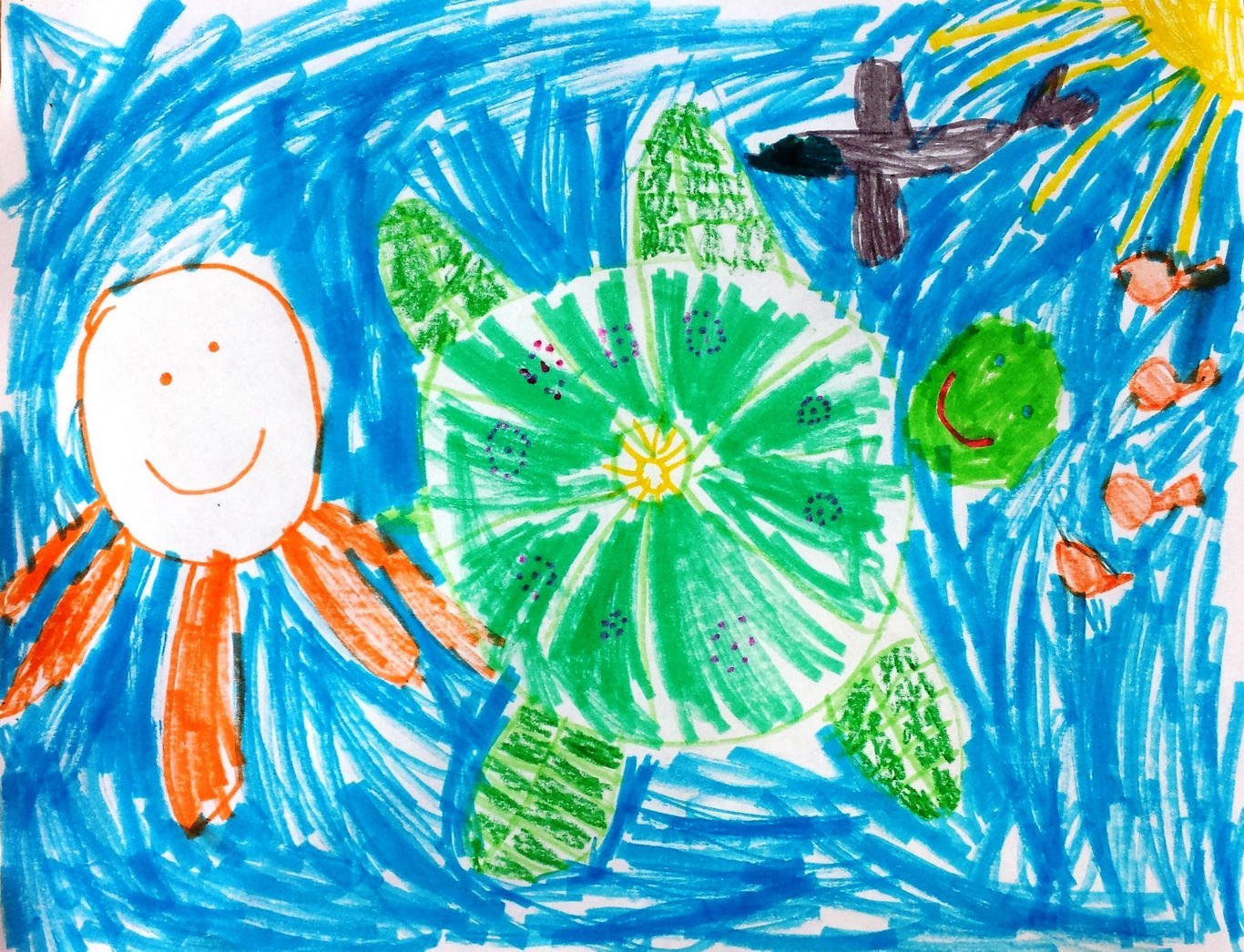 Child's drawing of a turtle swimming in the ocean