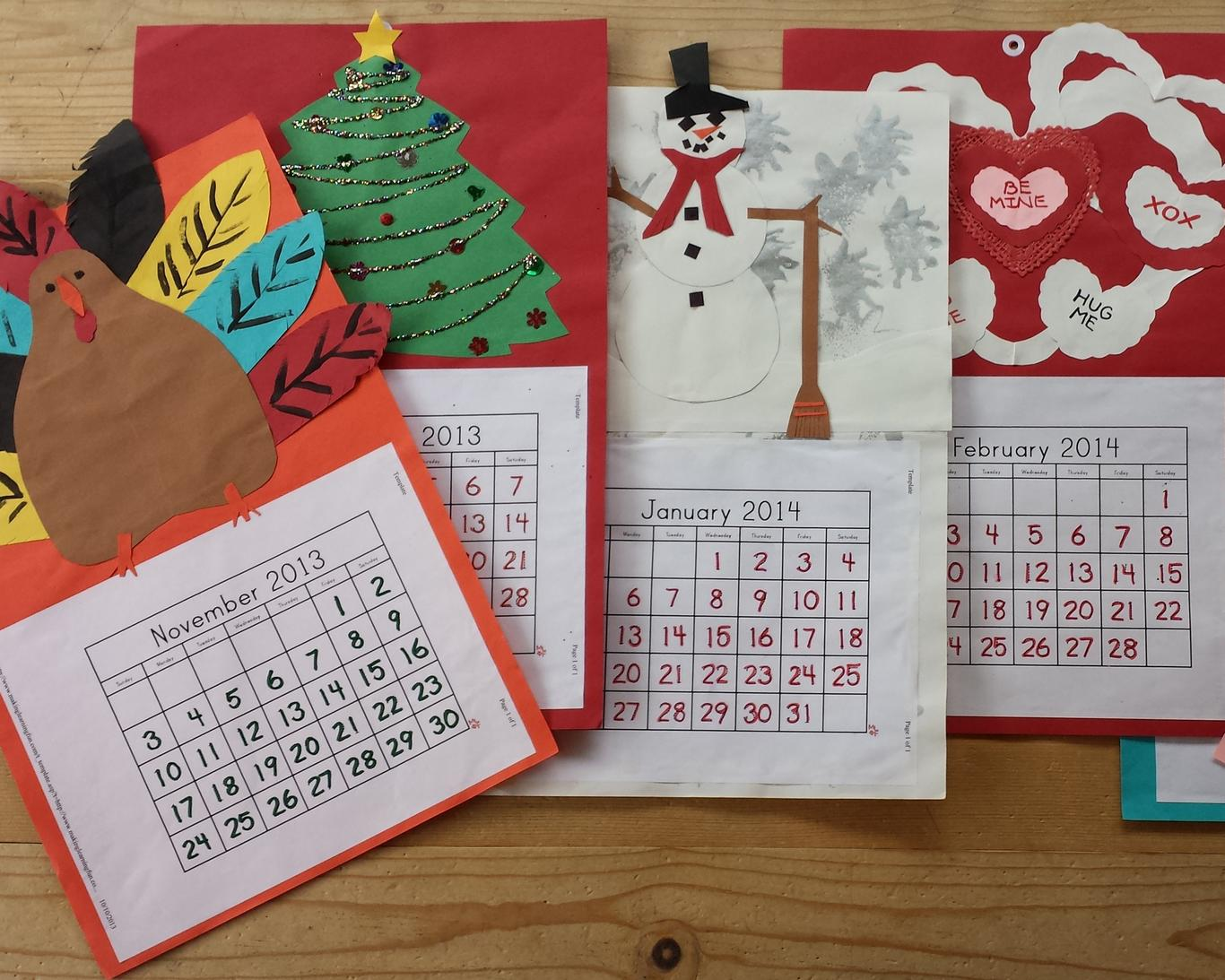 Children cut, glue, color, and paint calendars for each month of the year