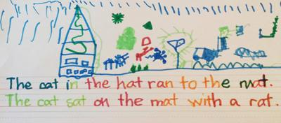 First sentence using sight words and short vowels