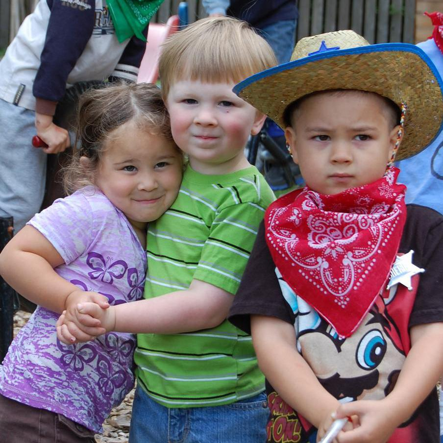 Cowboy trio (two boys and a girl)